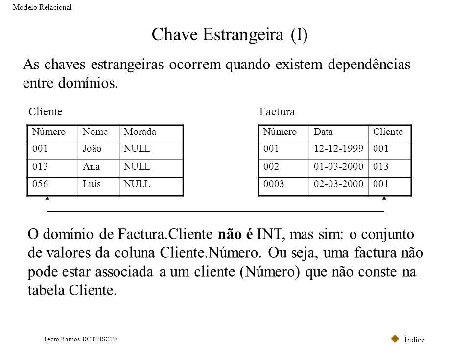 Índice Pedro Ramos, DCTI/ISCTE Chave Estrangeira (I) As chaves estrangeiras ocorrem quando existem dependências entre domínios. O domínio de Factura.C