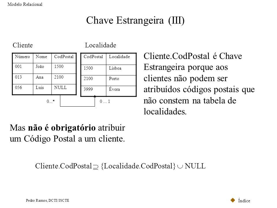 Índice Pedro Ramos, DCTI/ISCTE Chave Estrangeira (III) Modelo Relacional CodPostalLocalidade 1500Lisboa 2100Porto 3999Évora Localidade NúmeroNomeCodPo