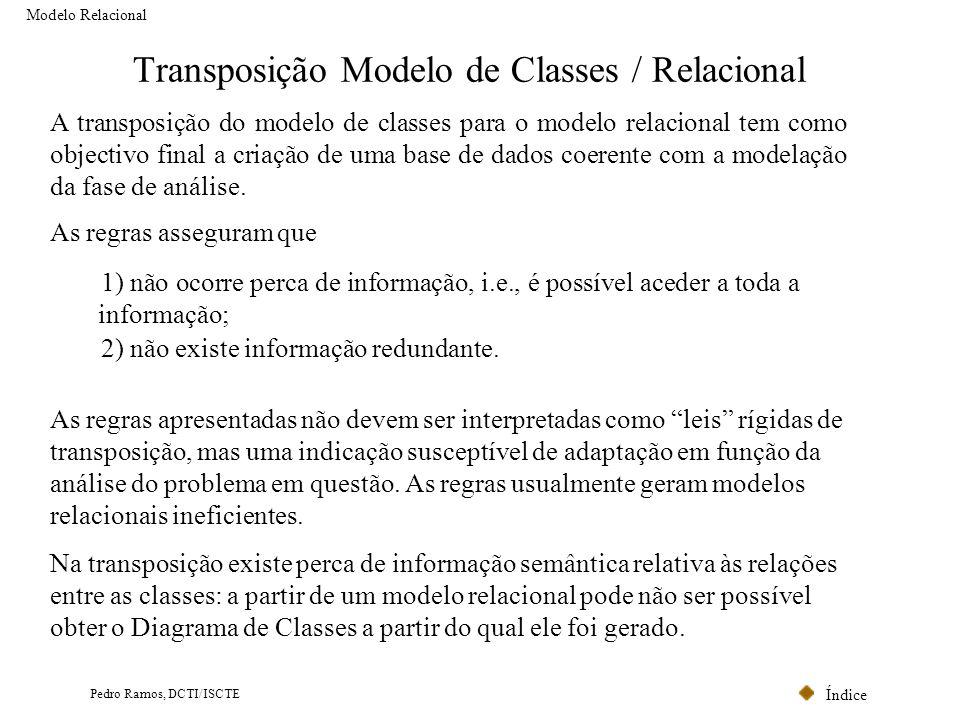 Índice Pedro Ramos, DCTI/ISCTE Transposição Modelo de Classes / Relacional Modelo Relacional A transposição do modelo de classes para o modelo relacio