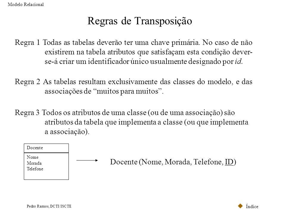Índice Pedro Ramos, DCTI/ISCTE Regras de Transposição Modelo Relacional Regra 1 Todas as tabelas deverão ter uma chave primária. No caso de não existi