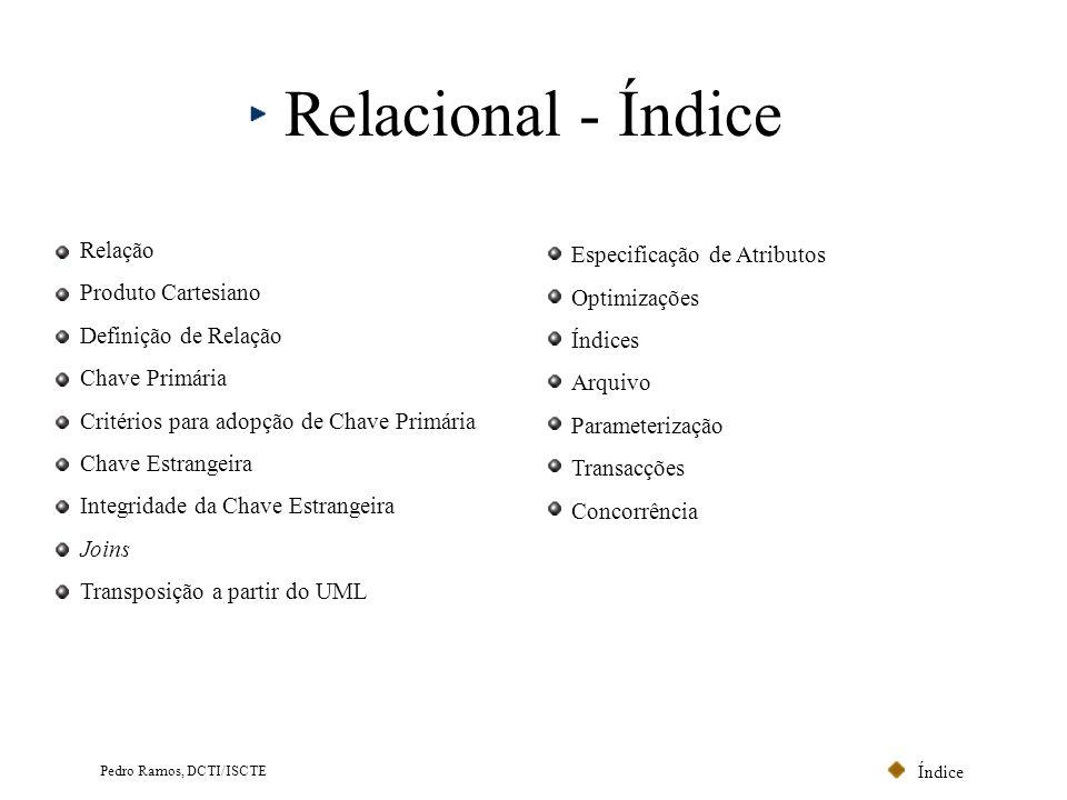 Índice Pedro Ramos, DCTI/ISCTE Chave Estrangeira (III) Modelo Relacional CodPostalLocalidade 1500Lisboa 2100Porto 3999Évora Localidade NúmeroNomeCodPostal 001João1500 013Ana2100 056LuísNULL Cliente 0...