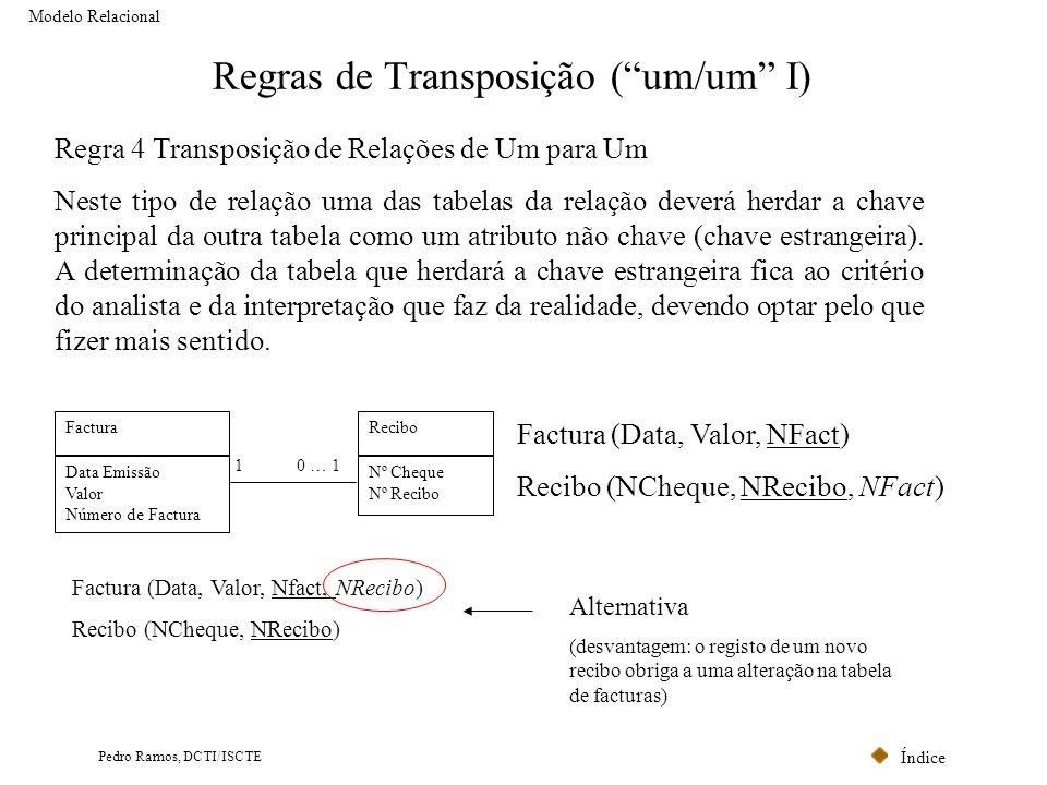 Índice Pedro Ramos, DCTI/ISCTE Regras de Transposição (um/um I) Modelo Relacional Regra 4 Transposição de Relações de Um para Um Neste tipo de relação