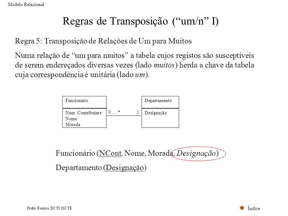 Índice Pedro Ramos, DCTI/ISCTE Regras de Transposição (um/n I) Modelo Relacional Regra 5: Transposição de Relações de Um para Muitos Numa relação de u