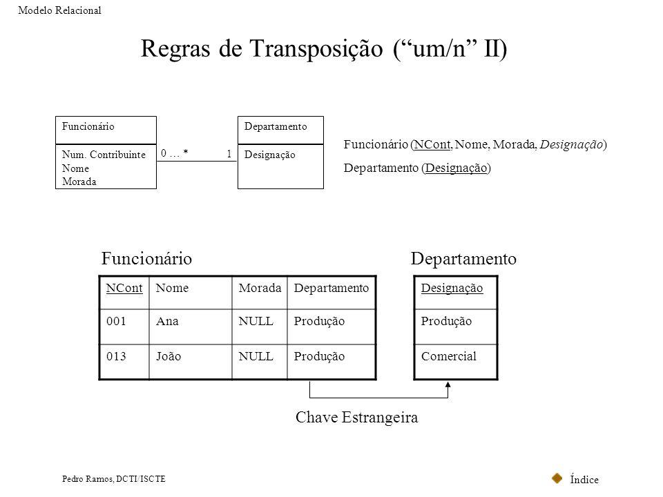 Índice Pedro Ramos, DCTI/ISCTE Regras de Transposição (um/n II) Modelo Relacional Chave Estrangeira NContNomeMoradaDepartamento 001AnaNULLProdução 013