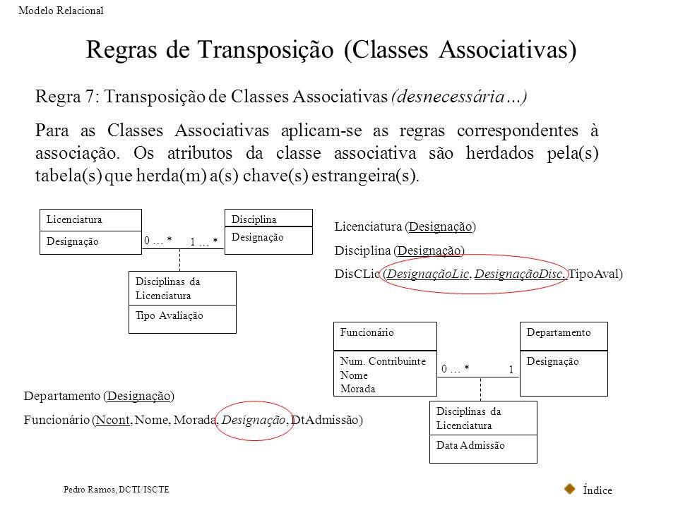 Índice Pedro Ramos, DCTI/ISCTE Regras de Transposição (Classes Associativas) Modelo Relacional Regra 7: Transposição de Classes Associativas (desneces