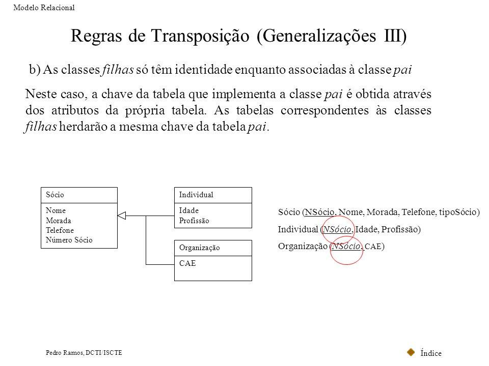 Índice Pedro Ramos, DCTI/ISCTE Regras de Transposição (Generalizações III) Modelo Relacional b) As classes filhas só têm identidade enquanto associada
