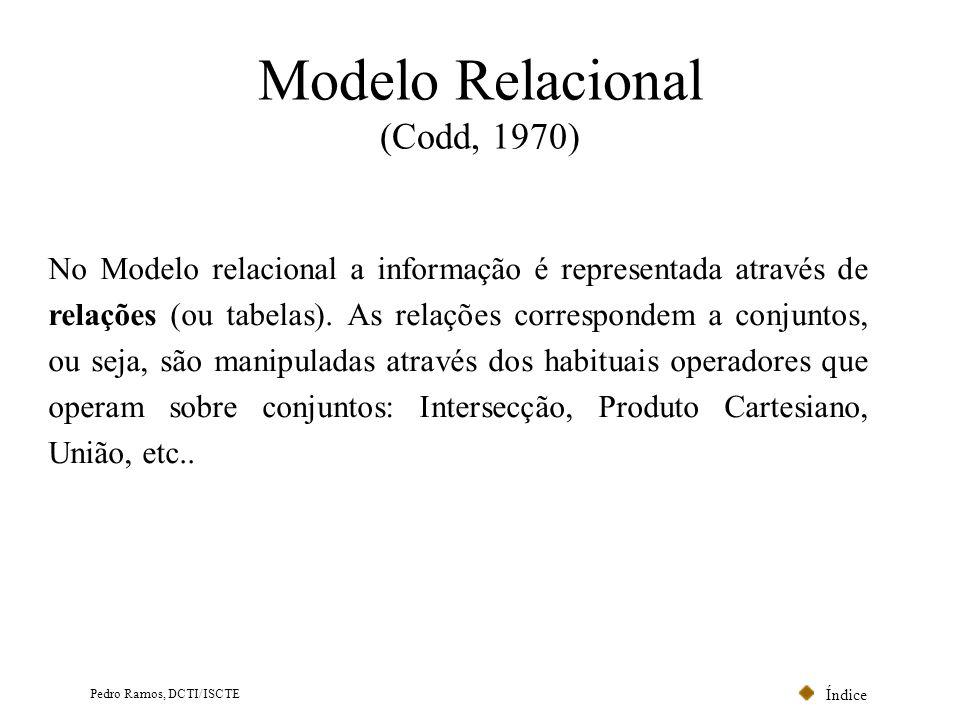 Índice Pedro Ramos, DCTI/ISCTE Integridade das Chaves Estrangeiras (Operação Delete) Modelo Relacional CodPostalLocalidade 1500Lisboa 2100Porto 3999Évora Localidade NúmeroNomeCodPostal 001João1500 013Ana2100 056LuísNULL Cliente Dado que Cliente.CodPostal {Localidade.CodPostal} NULL, três alternativas se colocam ao gestor da base de dados: Hipótese: um utilizador pretende apagar a linha cujo CodPostal é 2100 1.Não permite apagar; (Restricted) 2.Permite apagar, mas apaga o cliente 013; (Cascade) 3.Permite apagar, mas substitui o CodPostal do cliente 013 por NULL.