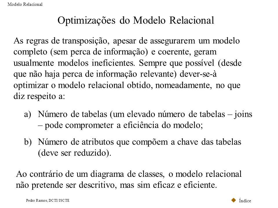 Índice Pedro Ramos, DCTI/ISCTE Optimizações do Modelo Relacional As regras de transposição, apesar de assegurarem um modelo completo (sem perca de inf