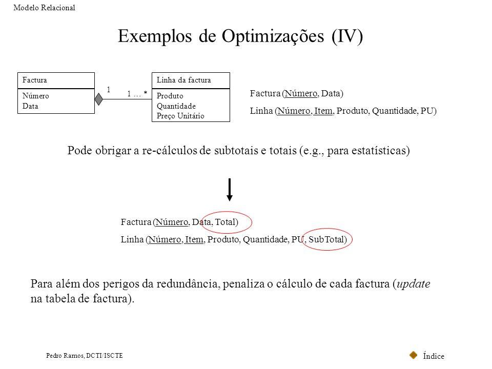 Índice Pedro Ramos, DCTI/ISCTE Exemplos de Optimizações (IV) Modelo Relacional Factura (Número, Data) Linha (Número, Item, Produto, Quantidade, PU) Po