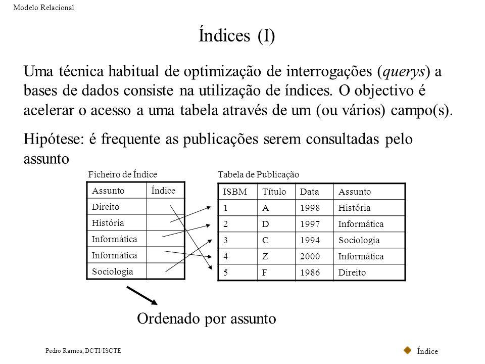 Índice Pedro Ramos, DCTI/ISCTE Índices (I) Uma técnica habitual de optimização de interrogações (querys) a bases de dados consiste na utilização de ín