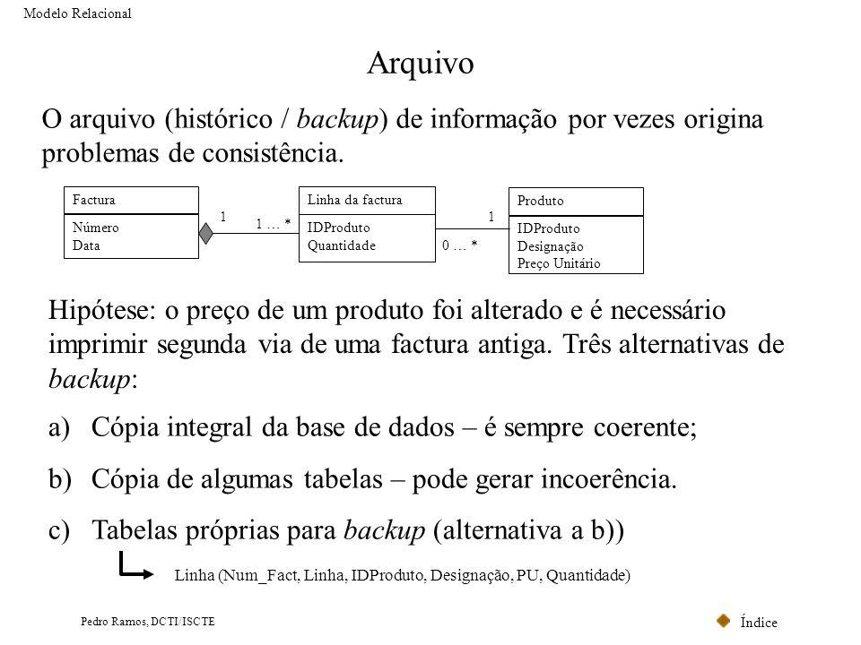Índice Pedro Ramos, DCTI/ISCTE Arquivo O arquivo (histórico / backup) de informação por vezes origina problemas de consistência. Modelo Relacional Hip