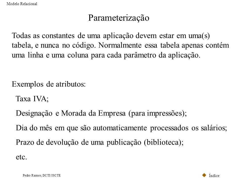 Índice Pedro Ramos, DCTI/ISCTE Parameterização Todas as constantes de uma aplicação devem estar em uma(s) tabela, e nunca no código. Normalmente essa