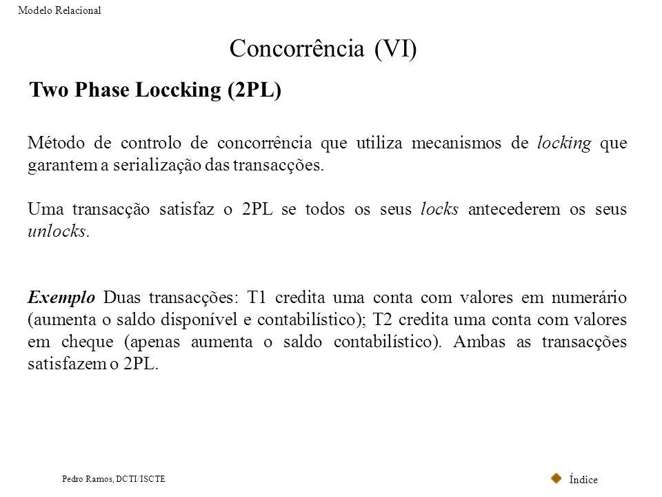 Índice Pedro Ramos, DCTI/ISCTE Concorrência (VI) Modelo Relacional Two Phase Loccking (2PL) Método de controlo de concorrência que utiliza mecanismos