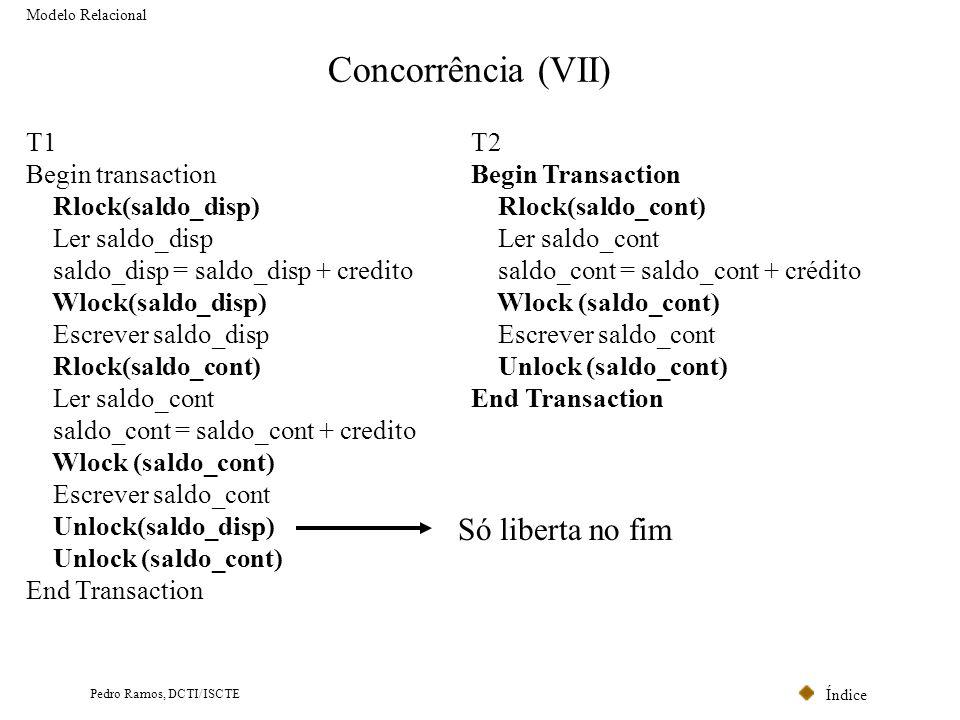 Índice Pedro Ramos, DCTI/ISCTE Concorrência (VII) Modelo Relacional T1 Begin transaction Rlock(saldo_disp) Ler saldo_disp saldo_disp = saldo_disp + cr