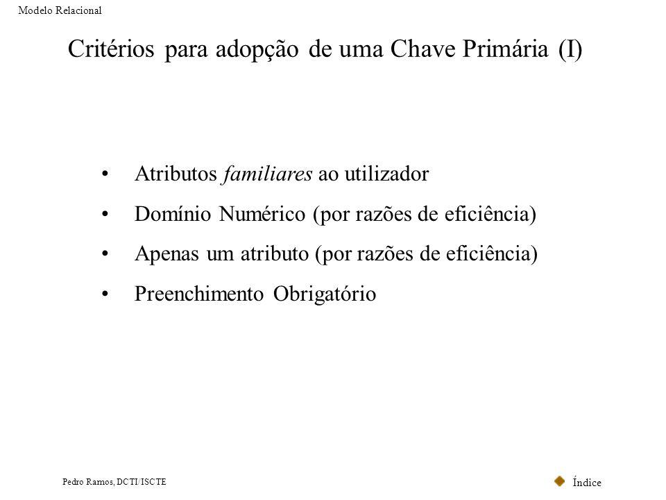Índice Pedro Ramos, DCTI/ISCTE Critérios para adopção de uma Chave Primária (I) Modelo Relacional Atributos familiares ao utilizador Domínio Numérico