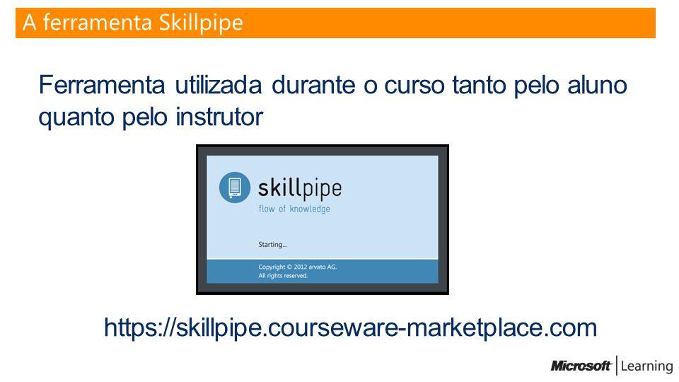 Ferramenta utilizada durante o curso tanto pelo aluno quanto pelo instrutor A ferramenta Skillpipe https://skillpipe.courseware-marketplace.com