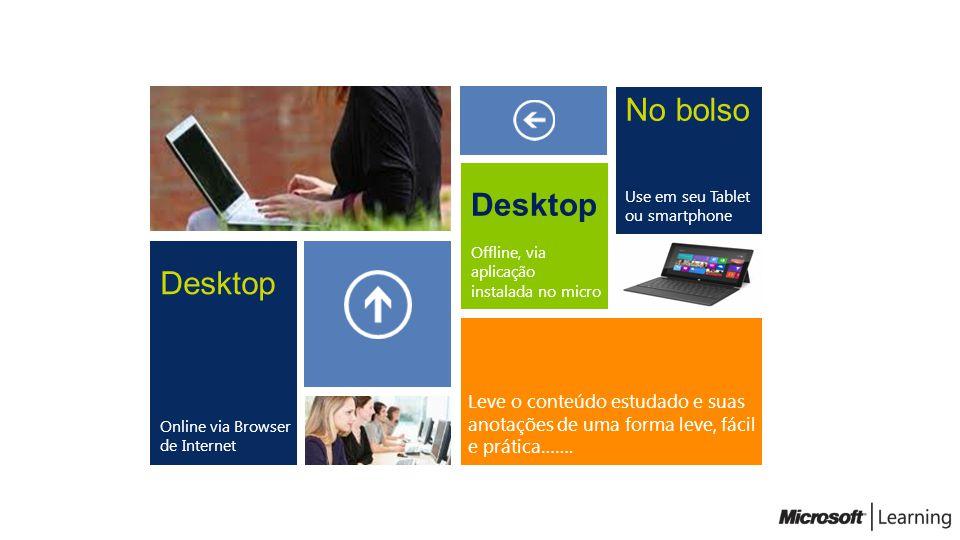 Desktop Online via Browser de Internet Desktop Offline, via aplicação instalada no micro No bolso Use em seu Tablet ou smartphone Leve o conteúdo estu