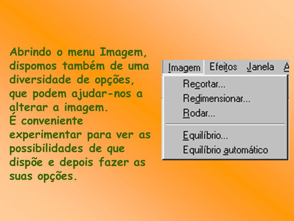 Abrindo o menu Imagem, dispomos também de uma diversidade de opções, que podem ajudar-nos a alterar a imagem. É conveniente experimentar para ver as p