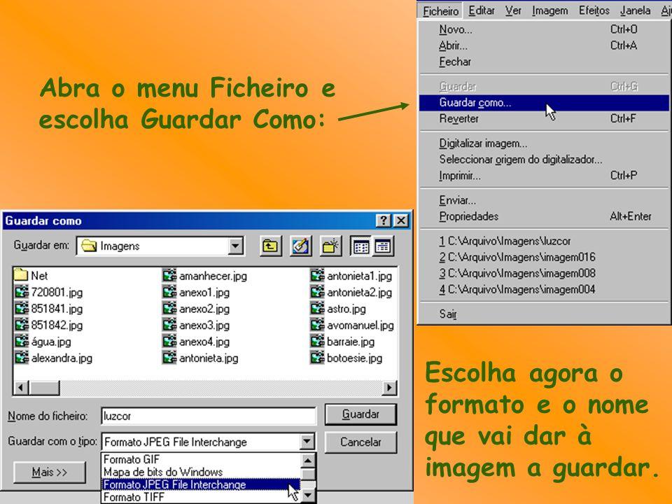 Abra o menu Ficheiro e escolha Guardar Como: Escolha agora o formato e o nome que vai dar à imagem a guardar.