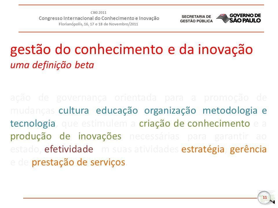 11 CIKI 2011 Congresso Internacional do Conhecimento e Inovação Florianópolis, 16, 17 e 18 de Novembro/2011 ação de governança orientada para a promoç
