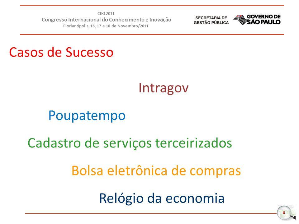 6 CIKI 2011 Congresso Internacional do Conhecimento e Inovação Florianópolis, 16, 17 e 18 de Novembro/2011 Intragov Cadastro de serviços terceirizados