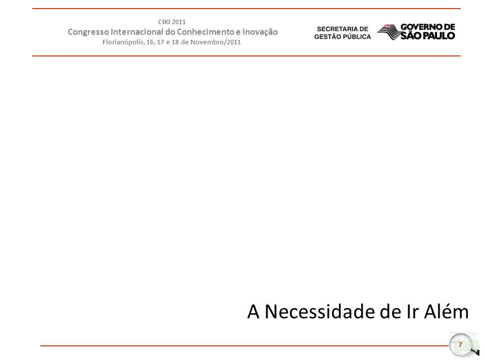 8 CIKI 2011 Congresso Internacional do Conhecimento e Inovação Florianópolis, 16, 17 e 18 de Novembro/2011 Retrabalho Departamentalização exacerbada Ampliação da complexidade dos problemas Baixo engajamento do servidor Nova geração de demandas sociais Indicadores Preocupantes