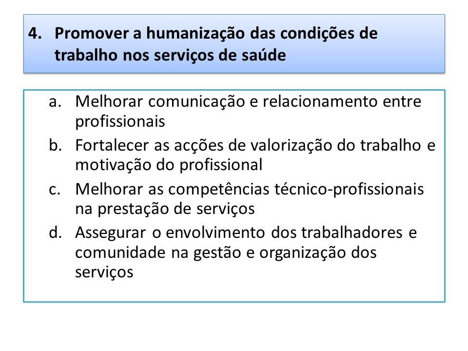 4.Promover a humanização das condições de trabalho nos serviços de saúde a.Melhorar comunicação e relacionamento entre profissionais b.Fortalecer as a