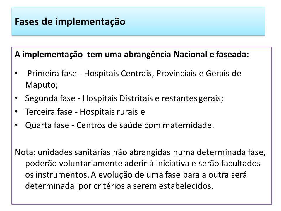 Fases de implementação A implementação tem uma abrangência Nacional e faseada: Primeira fase - Hospitais Centrais, Provinciais e Gerais de Maputo; Seg