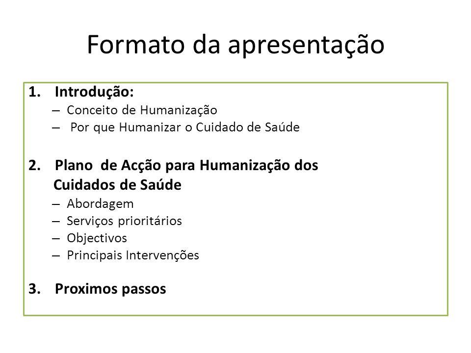 Formato da apresentação 1.Introdução: – Conceito de Humanização – Por que Humanizar o Cuidado de Saúde 2.Plano de Acção para Humanização dos Cuidados