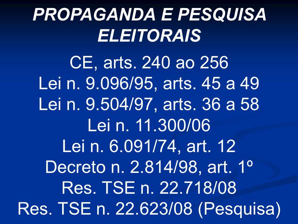 PROPAGANDA E PESQUISA ELEITORAIS CE, arts. 240 ao 256 Lei n.