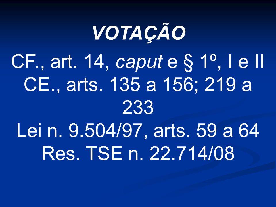 VOTAÇÃO CF., art. 14, caput e § 1º, I e II CE., arts.