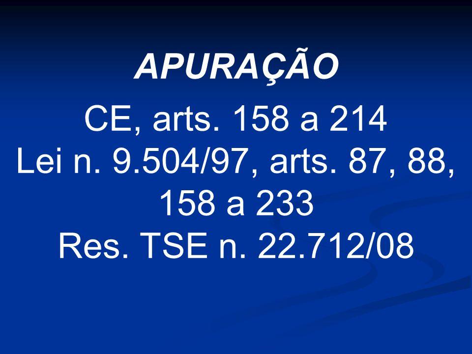 APURAÇÃO CE, arts. 158 a 214 Lei n. 9.504/97, arts. 87, 88, 158 a 233 Res. TSE n. 22.712/08