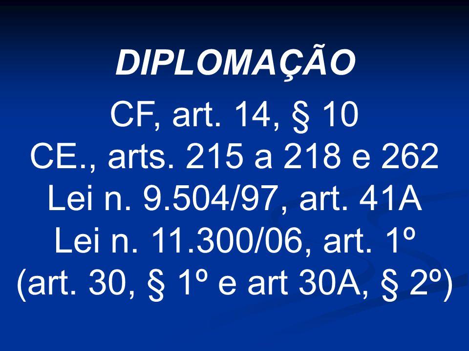 DIPLOMAÇÃO CF, art. 14, § 10 CE., arts. 215 a 218 e 262 Lei n.