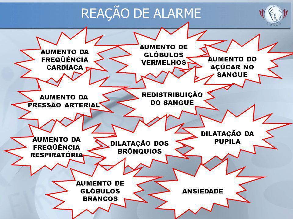 REAÇÃO DE ALARME AUMENTO DA FREQÜÊNCIA CARDÍACA AUMENTO DA PRESSÃO ARTERIAL AUMENTO DE GLÓBULOS VERMELHOS AUMENTO DO AÇÚCAR NO SANGUE REDISTRIBUIÇÃO DO SANGUE AUMENTO DA FREQÜÊNCIA RESPIRATÓRIA DILATAÇÃO DOS BRÔNQUIOS DILATAÇÃO DA PUPILA AUMENTO DE GLÓBULOS BRANCOS ANSIEDADE