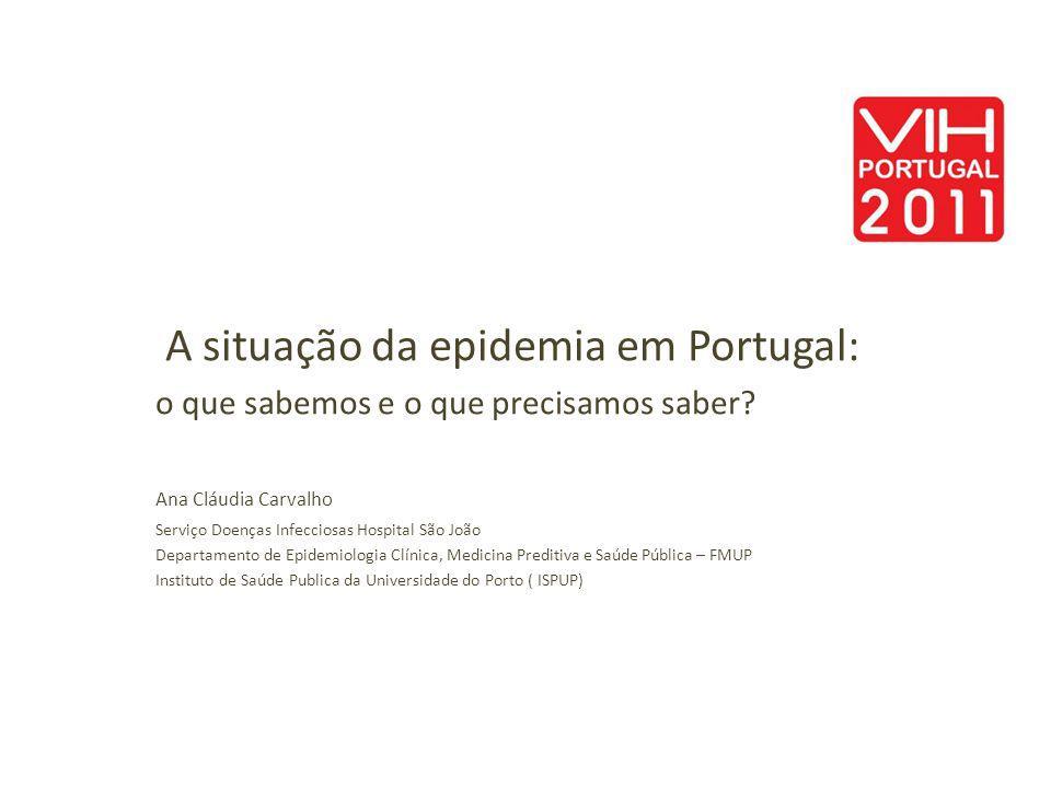 A situação da epidemia em Portugal: o que sabemos e o que precisamos saber? Ana Cláudia Carvalho Serviço Doenças Infecciosas Hospital São João Departa