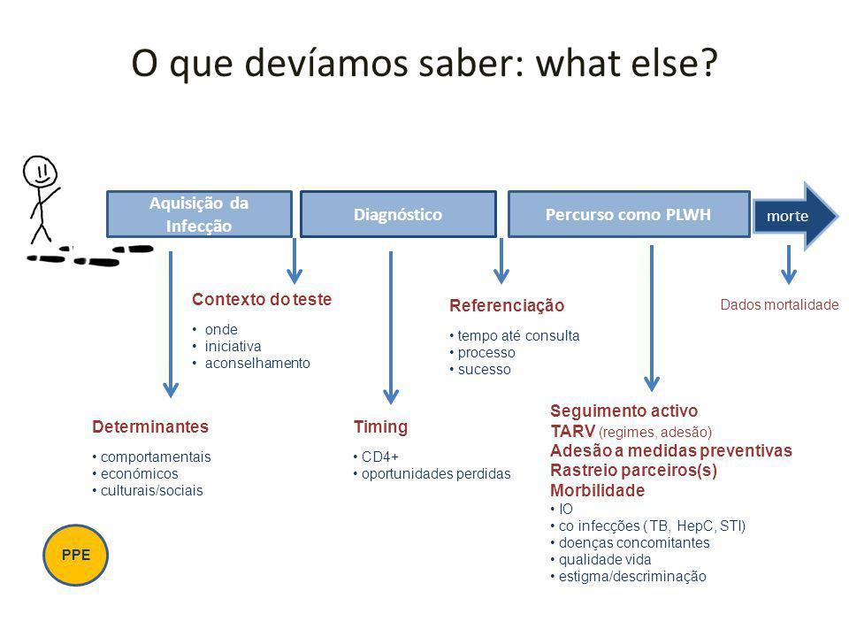 O que devíamos saber: what else? Aquisição da Infecção DiagnósticoPercurso como PLWH morte Determinantes comportamentais económicos culturais/sociais