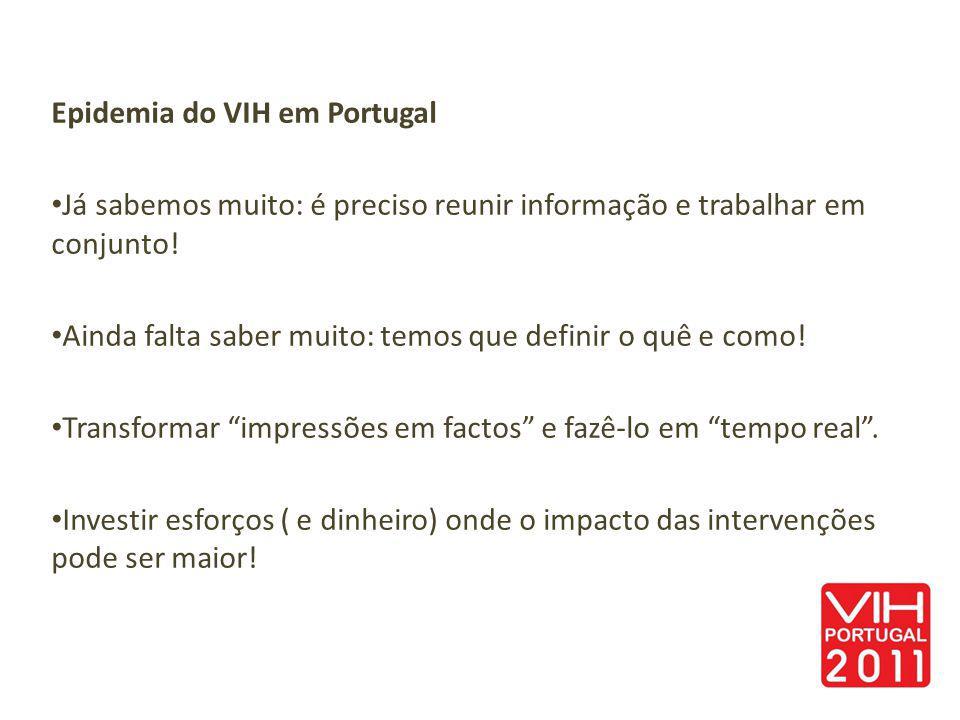 Epidemia do VIH em Portugal Já sabemos muito: é preciso reunir informação e trabalhar em conjunto! Ainda falta saber muito: temos que definir o quê e