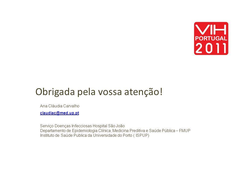 Obrigada pela vossa atenção! Ana Cláudia Carvalho claudiac@med.up.pt Serviço Doenças Infecciosas Hospital São João Departamento de Epidemiologia Clíni