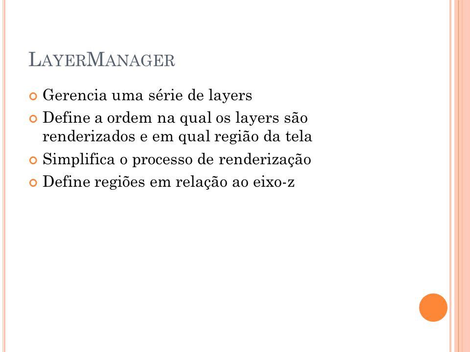 L AYER M ANAGER Gerencia uma série de layers Define a ordem na qual os layers são renderizados e em qual região da tela Simplifica o processo de renderização Define regiões em relação ao eixo-z