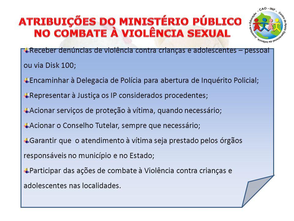 Receber denúncias de violência contra crianças e adolescentes – pessoal ou via Disk 100; Encaminhar à Delegacia de Polícia para abertura de Inquérito