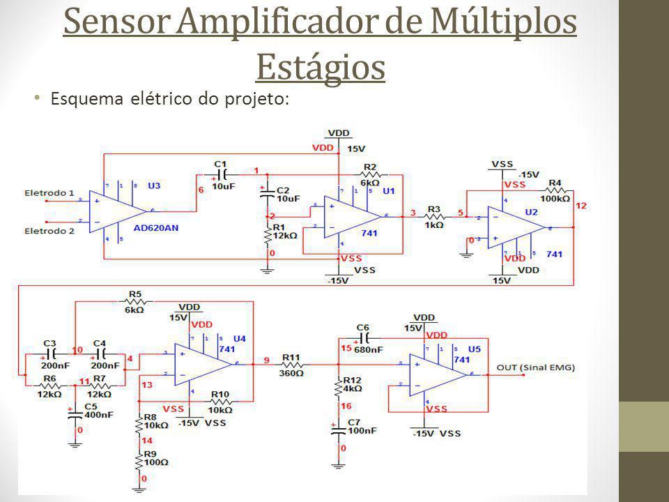 Esquema elétrico do projeto: Sensor Amplificador de Múltiplos Estágios