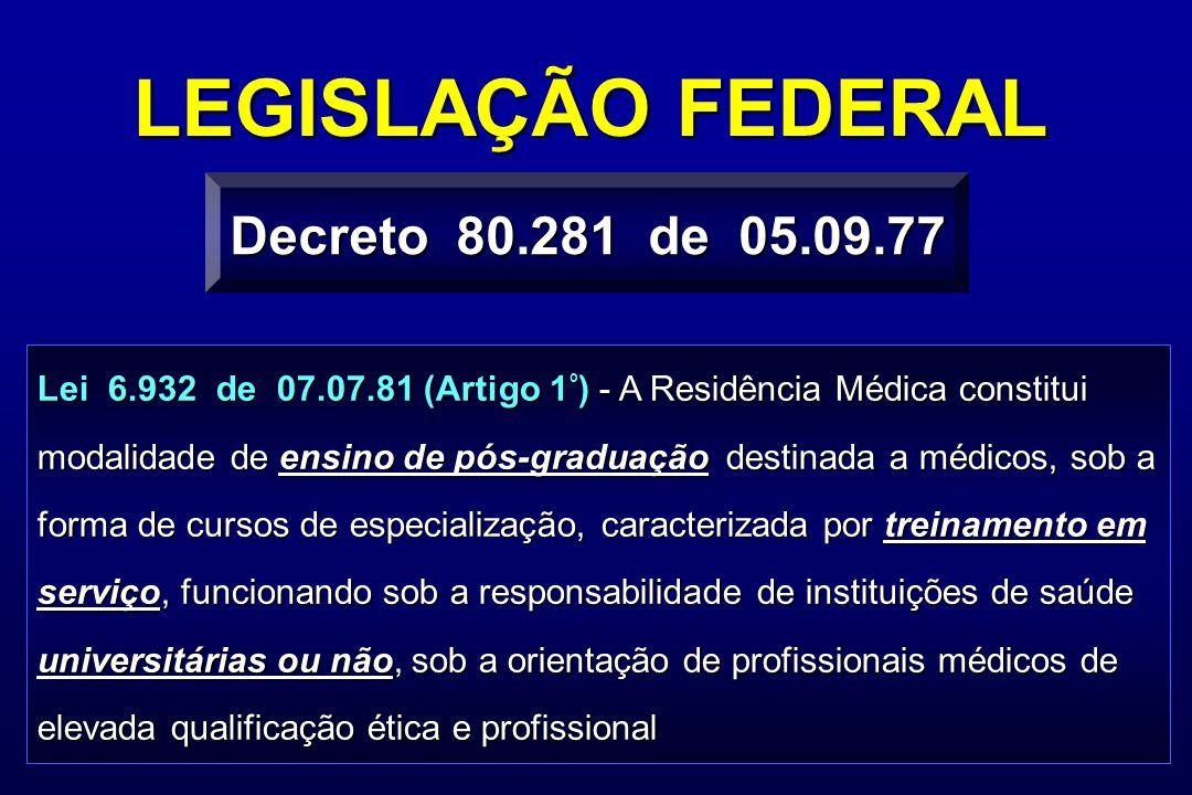 Lei 6.932 de 07.07.81 (Artigo 1 º ) - A Residência Médica constitui modalidade de ensino de pós-graduação destinada a médicos, sob a forma de cursos d