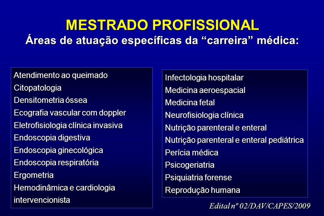 MESTRADO PROFISSIONAL Áreas de atuação específicas da carreira médica: Atendimento ao queimado Citopatologia Densitometria óssea Ecografia vascular co