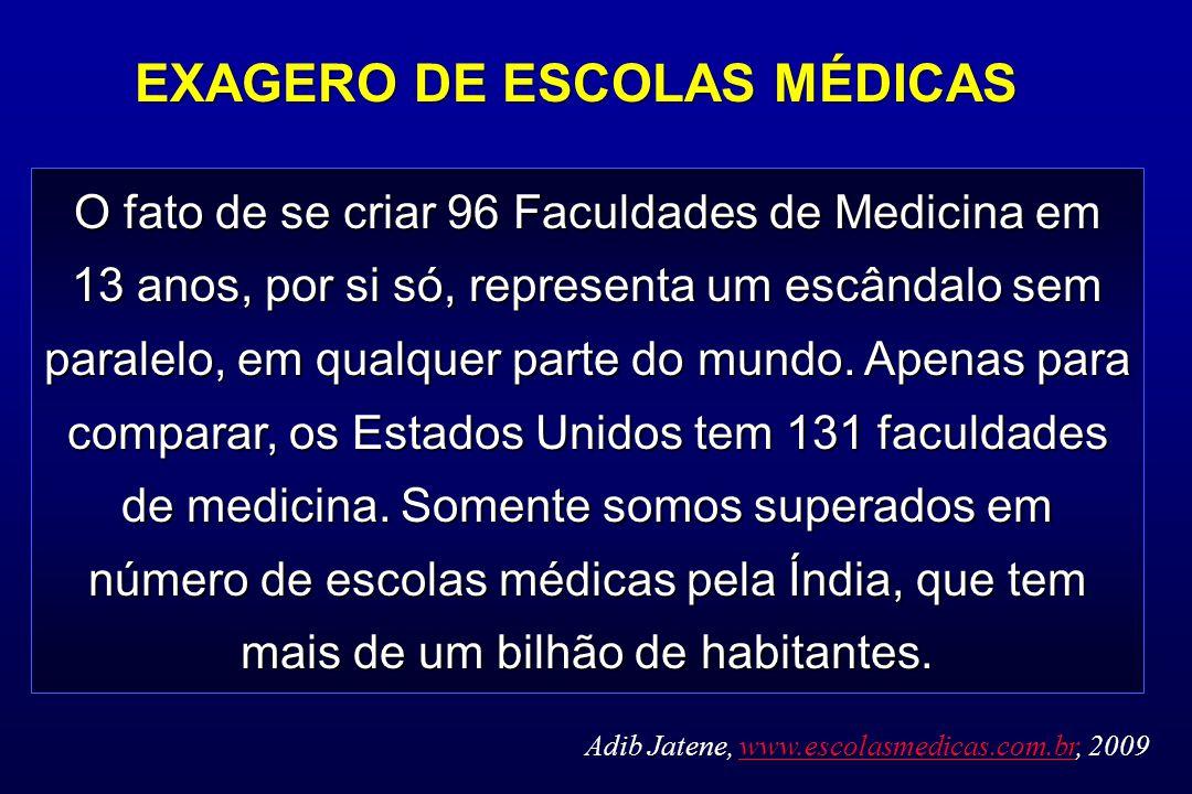 O fato de se criar 96 Faculdades de Medicina em 13 anos, por si só, representa um escândalo sem paralelo, em qualquer parte do mundo. Apenas para comp