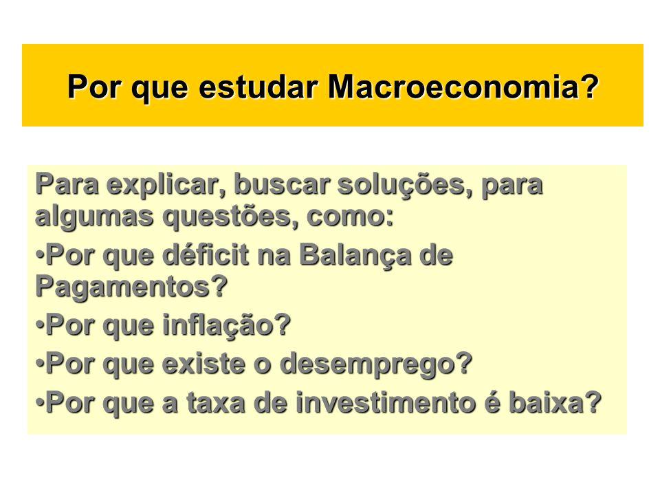 Por que estudar Macroeconomia? Para explicar, buscar soluções, para algumas questões, como: Por que déficit na Balança de Pagamentos?Por que déficit n
