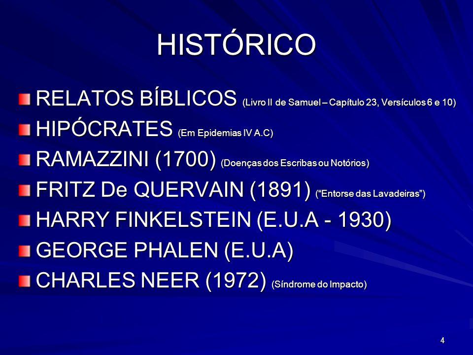 4 HISTÓRICO RELATOS BÍBLICOS (Livro II de Samuel – Capítulo 23, Versículos 6 e 10) HIPÓCRATES (Em Epidemias IV A.C) RAMAZZINI (1700) (Doenças dos Escr
