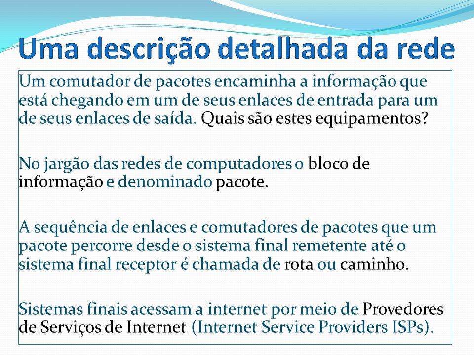 Sistemas finais, comutadores de pacotes e outras peças da internet executam protocolos que controlam o envio e o recebimento de informações na internet.
