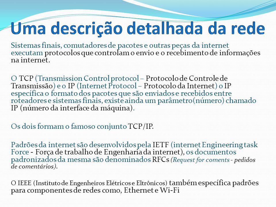 Todas as atividades na internet são governadas por um protocolo.
