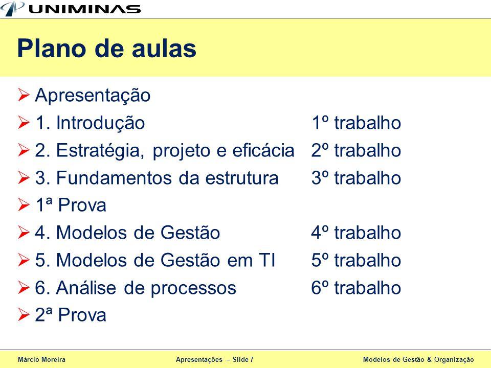 Apresentações – Slide 7 Apresentação 1. Introdução1º trabalho 2. Estratégia, projeto e eficácia2º trabalho 3. Fundamentos da estrutura3º trabalho 1ª P