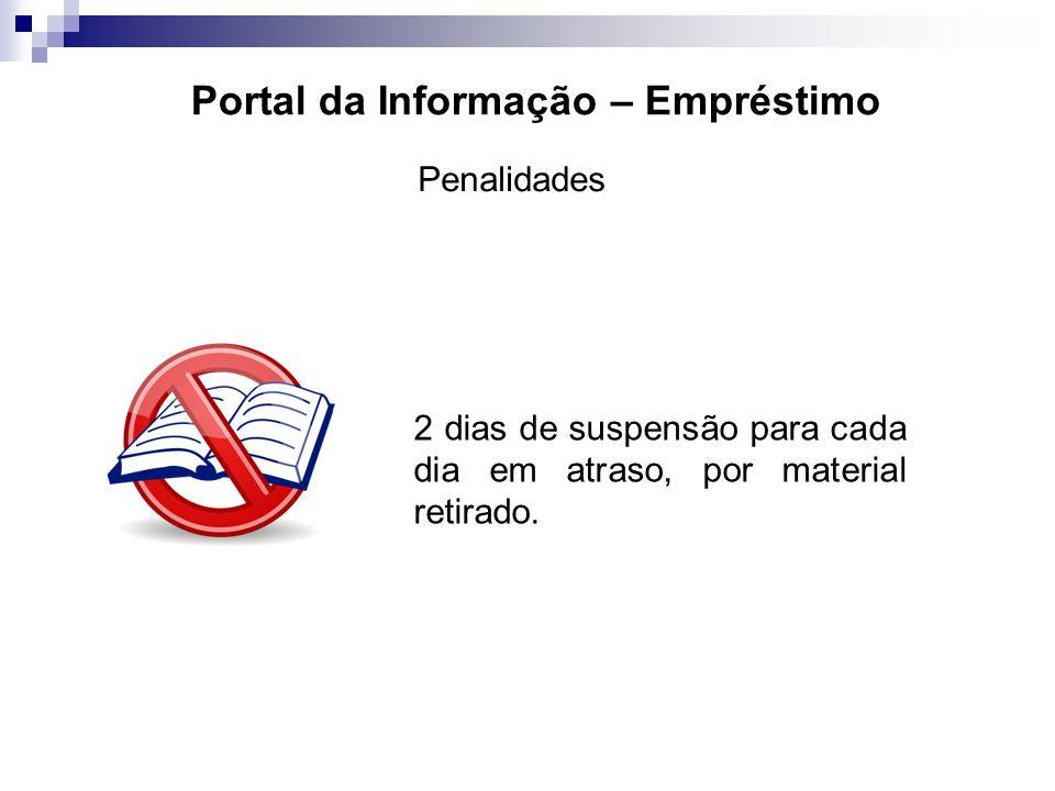 Portal da Informação – Empréstimo Penalidades 2 dias de suspensão para cada dia em atraso, por material retirado.